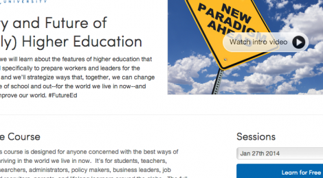 Home page of online course about technology and higher education.